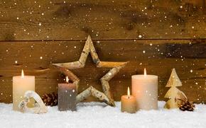 Картинка зима, звезды, праздник, сердце, свечи, star, heart, winter, Merry Christmas, holiday, candles, Christmas decoration, рождественские …