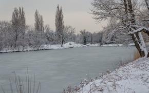 Картинка Зима, Снег, Пруд, Лёд, Мороз, Winter, Frost, Snow, Pond, İce
