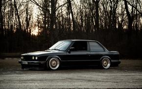 Картинка черный, бмв, BMW, black, low, e30, stance, 325si
