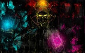 Картинка силуэт, арт, маг, жёлтые глаза, Dota 2, Carl, Invoker