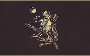 Обои постапокалипсис, арт, шлем, Fallout, art, moon, рисунок, New California Republic, playing card, grenade rifle, by ...