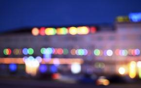 Картинка дорога, машина, машины, город, Казахстан, гостиница, hotel, боке, bokeh