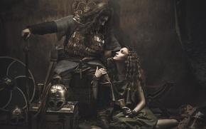 Картинка девушка, воин, викинг