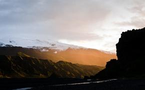 Картинка лучи, свет, горы, природа, долина