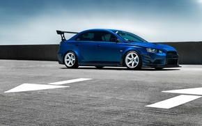 Картинка Mitsubishi, Lancer, Car, Evolution, Blue, Front, Wheels, Spoiler
