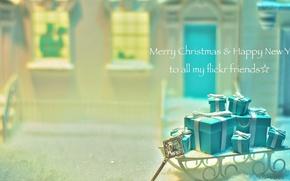 Картинка снег, подарки, украшение, ключик