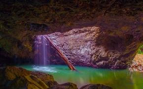 Картинка скала, озеро, вода, грот, поток