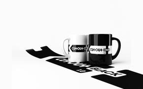 Обои кофе, черно-белая, чашки