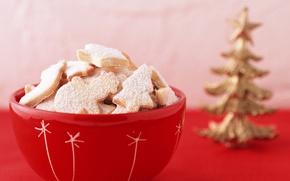 Обои макро, красный, елка, Новый год, ваза, праздники, сладкое, угощения, Печенье