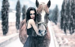 Обои Keep me warm, лошадь, снег, Alessandro Di Cicco, девушка