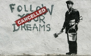 Картинка стена, граффити, Banksy