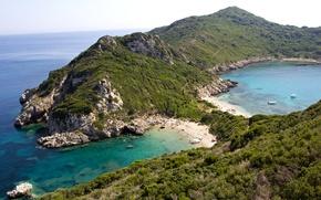 Обои море, Греция, горизонт, Corfu, скалы, побережье, камни