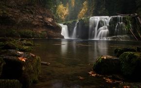 Картинка осень, лес, природа, озеро, водопад