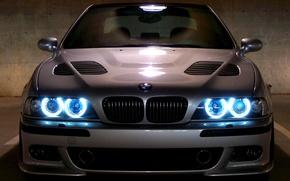 Картинка машина, машины, BMW, Бумер, черная, е39, Angels Eyes