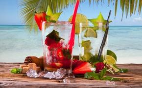 Обои лед, море, пальма, клубника, коктейль, сахар, лайм, мята