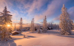 Обои норвегия, зима, дома, снег, солнце