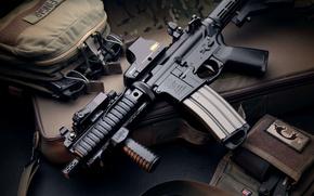 Картинка автомат, сумка, weapon, магазины, hd wallpaper, коллиматор, Larue Tactical, magpul
