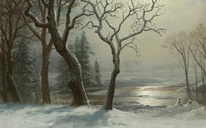 Картинка снег, деревья, пейзаж, река, картина, Альберт Бирштадт, Зима в Йосемити