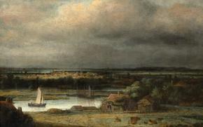 Картинка природа, дом, лодка, картина, парус, Конинк Филипс, Пейзаж Широкой Реки
