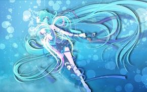 Картинка море, вода, девушка, пузыри, голубые волосы, Miku, Обои аниме, крылья на рабочий стол, Мику Хатсуне