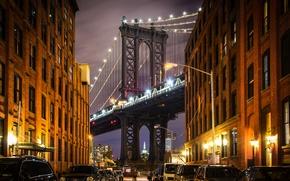 Обои улица, США, Бруклинский мост, дома, Нью-Йорк, Манхэттен