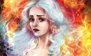 Обои Девушка, Блондинка, Волосы, Арт, Фильмы, Game of Thrones, Игра престолов, Emilia Clarke, Daenerys Targaryen, Эмилия ...