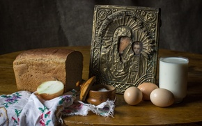 Обои яйца, деревня, молоко, хлеб, натюрморт, икона, соль