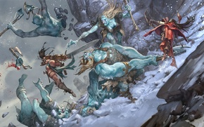 Картинка битва, Jesper Ejsing, Pathfinder Adventure, Ice Tomb of the Giant Queen