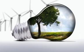 Обои ветряки, экология, лампочка, природа