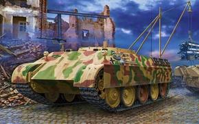 Картинка war, art, painting, tank, ww2, SdKfz 179 Bergepanther