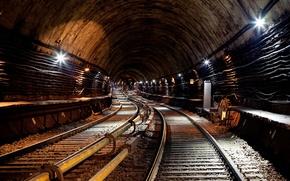 Картинка метро, рельсы, туннель, электричество