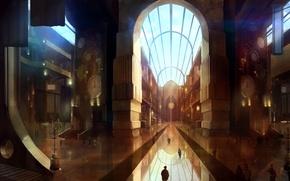 Картинка будущее, люди, часы, арт, арки, помещение