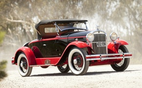 Картинка дорога, красный, ретро, фон, Roadster, пыль, родстер, передок, Speedabout, Essex, by Biddel & Smart, 1929, ...