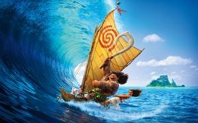 Обои абориген, парус, Моана, тату, Maui, Мауи, приключения, ожерелье, тропики, Walt Disney Pictures, мультфильм, Moana, лодка, ...