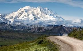 Картинка дорога, небо, облака, горы, природа, ледник, солнечно