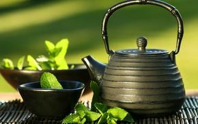 Картинка чайник, мята, East tea, cup