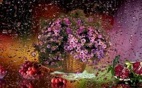 Картинка цветы, дождь, виноград, Корзина, натюрморт, гранат