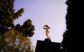 Картинка Sky, Autumn, Golden, Stuttgart, Trees, Statue, Pillar