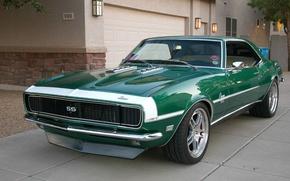 Обои Комплектация Супер Спорт, 1968 год, Цвет зеленый, Camaro, Muscle car, Green, Super Sport, '1968, Камаро, ...