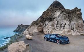 Обои море, небо, Bugatti, бугатти, утёс, гиперкар, Chiron