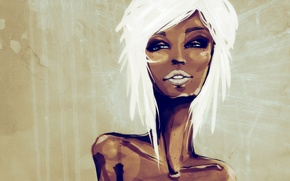 Картинка девушка, рисунок, блондинка, мулатка