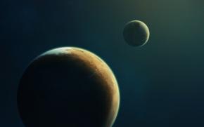Обои планета, бесконечность, звезды, свет, спутник