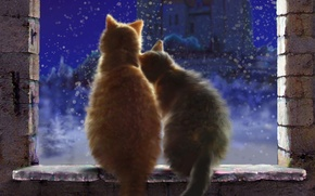 Картинка снег, арт, зима, окно, любовь, снежинки, замок, пара, ночь, кошки, подоконник
