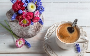 Обои цветы, кофе, чашка