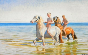 Картинка море, небо, лошадь, картина, мальчик, купание, Michael Ancher