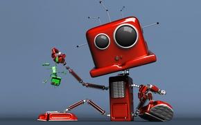 Обои зелёное, красное, робот, ситуация