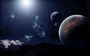 Обои небо, планеты, горы