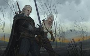 Картинка меч, арт, Геральт, The Witcher 3, Цири