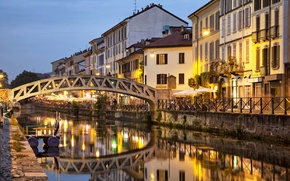 Обои Milan, отражение, Италия, мост, дома, огни, канал, вода, вечер