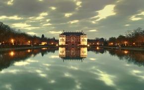 Картинка озеро, парк, отражение, замок, Дрезден, фонари, сумерки